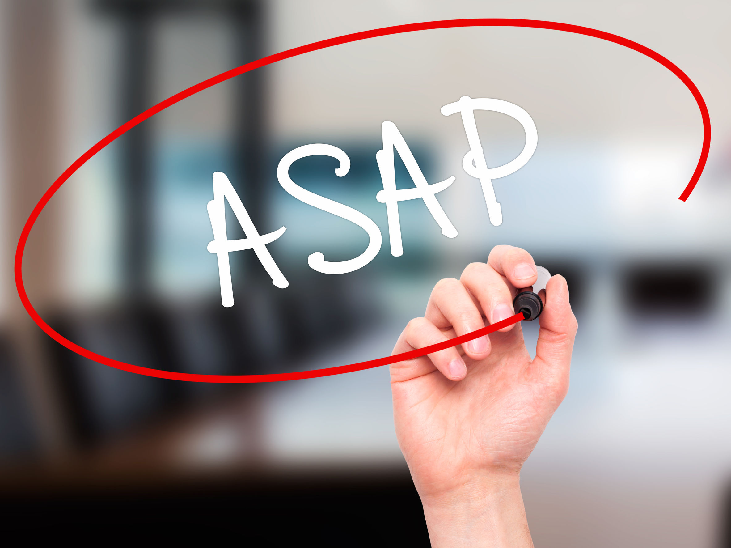 "Man hand writing ""ASAP"" with white marker on visual screen indicating there is no CAMS Waiting List"